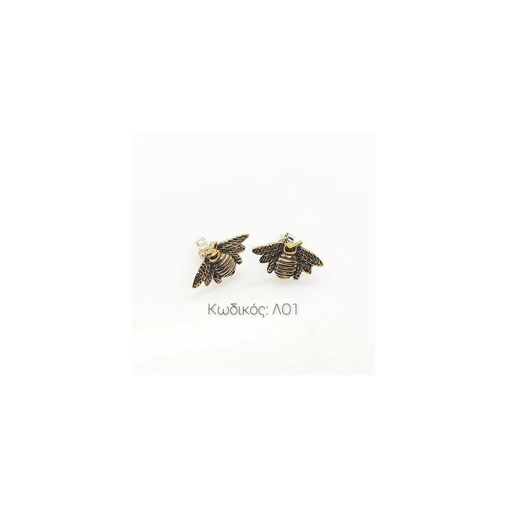 Jewelry LO1 Handmade Earrings with Bee in Silver